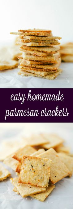 Easy Parmesan Crackers - Simple and quick minutes to make) homemade parmesan-herb crackers. Perfect for entertaining and snacking! Appetizer Recipes, Snack Recipes, Cooking Recipes, Party Appetizers, Fingers Food, Savoury Biscuits, Homemade Crackers, Savory Crackers Recipe, Healthy Crackers