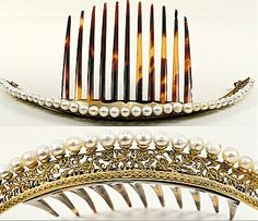 This is a totally gorgeous French Empire seed-pearl diadem on tortoiseshell, which you will notice is a bit curved up, so you can wear it as a tiara in the front of a bun on top of your hea