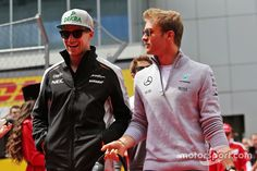 Nico Hulkenberg, Sahara Force India F1 and Nico Rosberg, Mercedes AMG F1 Team on the drivers parade  #teamnicos