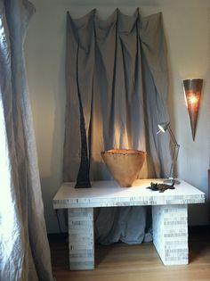 Don Narcomey vessel, Randy Marks sculpture, David Phelps bronze, Piet Boon recycled cardboard desk~