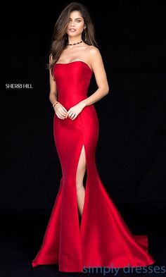 Shop prom dresses and long gowns for prom at Simply Dresses. Floor-length evening dresses, prom gowns, short prom dresses, and long formal dresses for prom. Sherri Hill Homecoming Dresses, Grad Dresses, Short Dresses, Sherri Hill Red Dress, Strapless Prom Dresses, Sexy Dresses, Quinceanera Dresses, Red Lace Dresses, Womens Formal Dresses