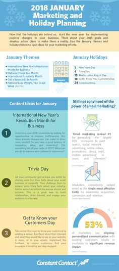 January 2018 Marketing and Holiday Planning Email Marketing, Content Marketing, Internet Marketing, Digital Marketing, Holiday Market, Business Planning, January 2018, Blogging, Social Media