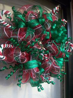 Red and Green Deco Mesh Wreath with Green Metallic Ribbon, Christmas Wreaths, Mesh Wreaths, Door Decor. $75.00, via Etsy.