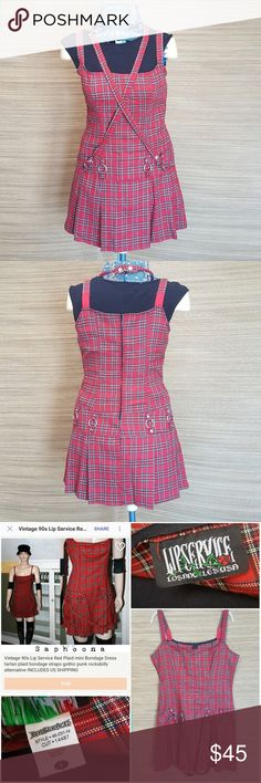Lip Service vintage 90's  plaid punk goth dress Lip Service brand red tartan plaid vintage 90's mini dress with punk/bondage d-ring details. Juniors size large. Very good used condition. No flaws or damage, but has been worn. Same style dress recently sold on etsy for $60 (see pic 3). Black shirt on mannequin is to show details, is not part of the dress.  Ready to be reunited with some tights, leather jacket, and Docs. Lip Service Dresses Mini
