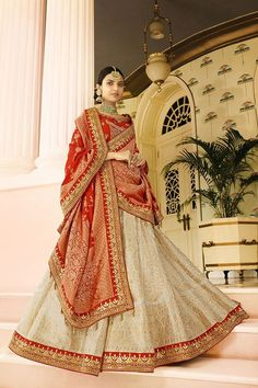 Picture of Timeless red and cream Panetar lehenga