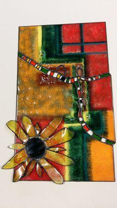Abstrakt-fjuzing spekané sklo spájané s Tiffany technikou