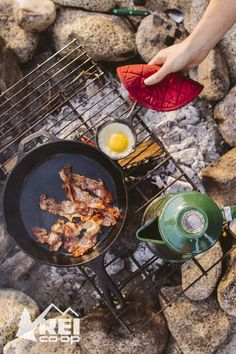 Three things make you a camp chef: a cast iron pan, simple ingredients and a solid recipe—like bacon and eggs in the moring. And for dinner, try this one: Brats and onions. Here's how it's done. #LetsCamp