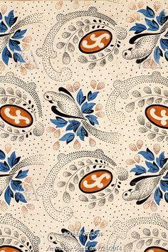 Bird textile design. France, 19th century