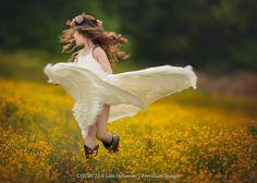 Lisa Holloway LITTLE GIRL DANCING IN FLOWERY MEADOW Children
