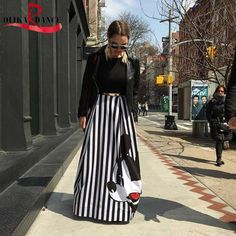 Fashion striped A-line summer women long skirt mouse casual pleated women mickey skirt long ladies stretch high waist skirt *** undefined Long Skirts For Women, High Waisted Skirt, Waist Skirt, Casual Skirts, Lady, Elastic Waist, Mickey Mouse, Cotton, Clothes