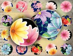 Flower POP - circles image - digital collage sheet - 1 x 1 inch - Printable Download. $4,20, via Etsy.