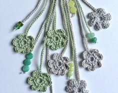 Green hearts beaded crochet necklace by GabyCrochetCrafts on Etsy