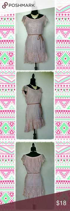 NWOT Heart Soul Lace High-Low Dress - Brand New With Tag -  - Size: Medium -   Product Details: Elastic scoop neckline Cap sleeves Elastic waistline with belt loops high-low skirt Fully lined Color: Dust Pink  ***Belt NOT included*** HeartSoul Dresses High Low