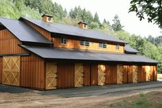 I was fortunate enough to have designed this pole barn for the owners.  It placed first in its class, nationally, for 2007 with the NFBA.  It is located in the Banks Oregon area.  All of our buildings are custom designed. www.kesselect.info/polebarn/blog/