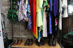 Dresses and shoes from Shirley & Alice, a boutique vintage store in Bed-Stuy.