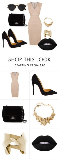 """Nude dress"" by dzenita-219 on Polyvore featuring Oasis, Christian Louboutin, Chanel, Oscar de la Renta, Lime Crime, Christian Dior, women's clothing, women, female and woman"