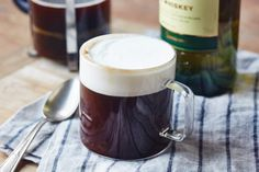 How To Make Classic Irish Coffee — St. Can also add Frangelico, Kahlua, Bailey's Irish Cream and lots of other alcohol to coffee. Bourbon Cocktails, Whiskey Drinks, Coffee Cocktails, Irish Coffee, Irish Whiskey, Scotch Whiskey, Coffee Cream, Hot Coffee, Espresso Coffee