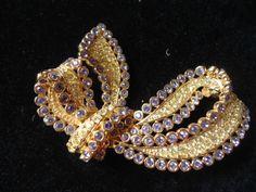 Nolan Miller Intricate Crystal Pave Bow Pin