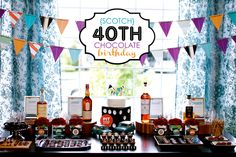 scotch + chocolate 40th bday party {change this to Diet Coke and you've got my husband's perfect party!}