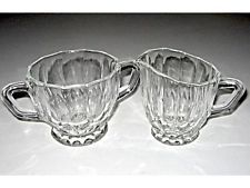Here I have up for offer a beautiful VINTAGE MILK JUG and SUGAR BOWL SET.  Made by Anchor Hocking and Pattern is called WEXFORD   JUG - 9cm high to top of lip x 11.5cm across top (including handle).  SUGAR BOWL - 8cm high X 15cm across the top (including handles).