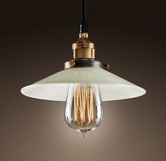 20 Fabulous Pendants - Restoration Hardware 20th C. Factory Filament Milk Glass Single Pendant