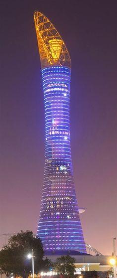 Futuristische Architektur - Aspire Tower, Doha, Qatar by Hadi Simaan Architect :: 36 flo. Unusual Buildings, Interesting Buildings, Amazing Buildings, Modern Buildings, Modern Skyscrapers, City Buildings, Architecture Unique, Futuristic Architecture, Architecture Definition