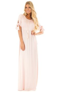 Lime Lush Boutique - Blush Short Sleeve Maxi Dress with Tie Sleeve Detail, $39.99 (https://www.limelush.com/blush-short-sleeve-maxi-dress-with-tie-sleeve-detail/)