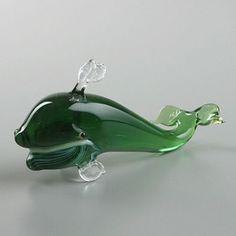 Green Whale Glass Figurine