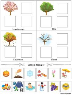 Playful exercise to print, the seasons Preschool Activities At Home, Seasons Activities, Preschool Learning Activities, Free Preschool, Preschool Worksheets, Toddler Activities, Teaching Kids, Kids Learning, French Worksheets