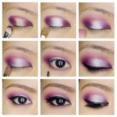 Purple Smoky Eyes with Highlight in the Center Using Sleek Makeup