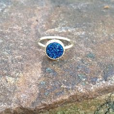 •druzy ring• Blue druzy ring.  Band is 14k gold plated.  Size 6. Price is firm unless bundled. Jewelry Rings