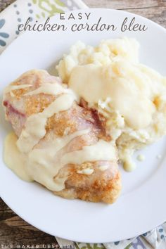 easy chicken cordon bleu The easiest chicken cordon bleu with delicious dijon parmesan sauce! So tasty and ready in thirty minutes! Chicken Cordon Blue Sauce, Cordon Bleu Sauce, Baked Chicken Cordon Bleu, Sauce For Chicken, How To Cook Chicken, Chicken Recipes, Cheesy Chicken, Chicken Meals, Grilled Chicken