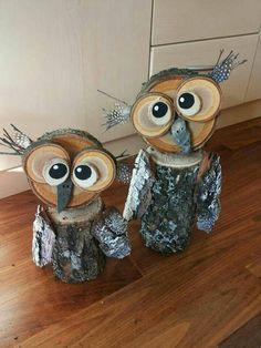 DIY Holz Eulen