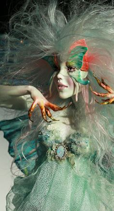 OPAL BUTTERFLY FAERIE - ooak - Polymer clay figurative sculpture by Nicole West