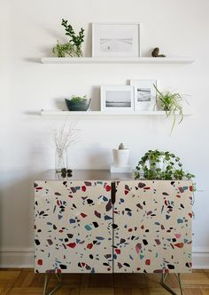 We are obsessing over this terrazzo texture on our handmade credenza!  Autumnal Terrazzo Texture by Emanuela Carratoni
