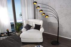 Cinco 5 Five Multi Arm Lounge Floor Light Lamp Glass Shades - 3 Colours (Black & Gold) Home Design, Glass Shades, Floor Chair, Lamp Light, Black Gold, Accent Chairs, Lounge, Colours, Furniture