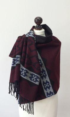 Blanket Scarf Aztec Shawl Winter Scarf Tribal by designscope