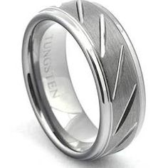 Brushed Tungsten Ring Diamond Cut Grooved Wedding Band