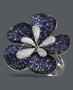 Diamond Rings : Effy Collection 14k White Gold Ring with Sapphire and black and white diamonds