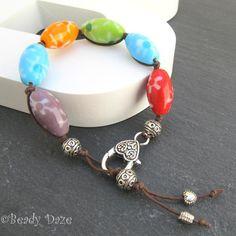 Happy Daze surfer bracelet flower beads Tibetan silver £9.00