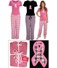 Pink Ribbon Plaid Pajama Set - On sale for just $24.99! Plus, every purchase funds mammograms for women in need.