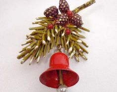 Signed ART Brooch Pin Christmas Pine Cones Holly Gold Tone 902 - Edit Listing - Etsy