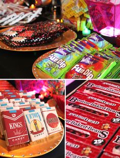 thought some candy would be interesting. fun dip, fake cigs, pop rocks, the paper with the dots on them 80s Birthday Parties, 50th Birthday Party, 80s Theme Parties, 90s Theme, Birthday Celebration, Birthday Ideas, Dogs Party, Decade Party, Fun Dip