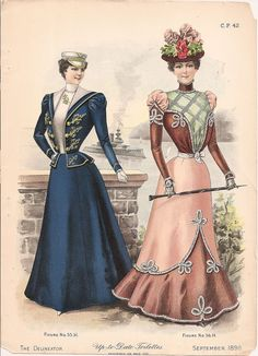 Fashion Plate - The Delineator, September 1898 Victorian Era Fashion, 1890s Fashion, Victorian Costume, Vintage Fashion, Fashion Goth, Ladies Fashion, Vintage Dresses, Vintage Outfits, Vintage Hats