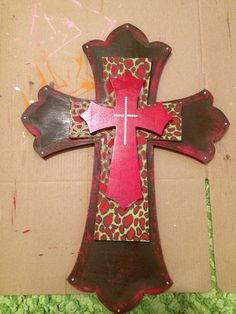 Hand painted cross that I made for a Christmas gift