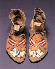 beaded moccasins with flag motif