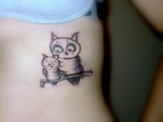 07e5f12e1 Baby Owl With Mother Owl Tattoo On Side Rib Mother Daughter Tattoos, Tattoos  For Daughters