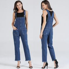 3e3b72bf477 Fashion Women Ladies Baggy Denim Jeans Bib Full Length Pinafore Dungaree  Overall Solid Loose Causal Jumpsuit