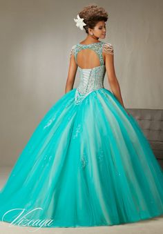 Quinceanera Dress  Vizcaya Morilee 89065  Beading and embroidery on a tulle ball gown with chandelier crystal sleeves  Colors: Mint Leaf/Nude A back side view