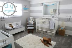 DIY nursery room projects for a nautical themed room! Love the nautical theme, makes me think of you! Nautical Baby Nursery, Baby Nursery Diy, Baby Nursery Neutral, Baby Bedroom, Baby Boy Rooms, Baby Boy Nurseries, Nursery Room, Nursery Ideas, Toddler Rooms